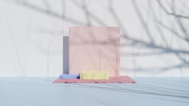 Composição abstrata do pódio. com sombra de árvore. 3d render, ilustração 3d