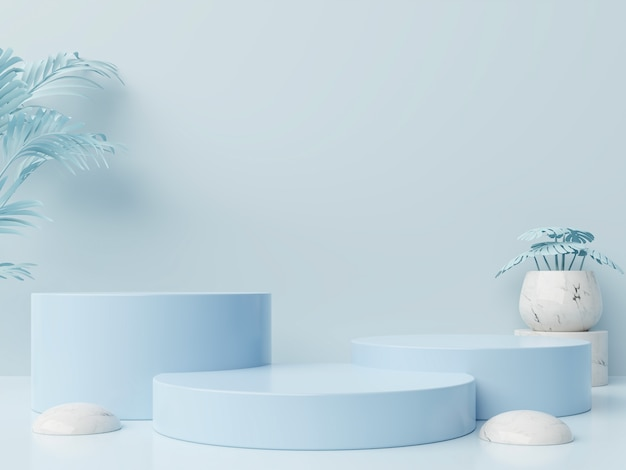Composição abstrata do pódio do vencedor com fundo azul
