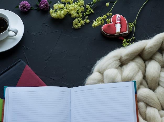 Composição aconchegante, cobertor de lã de merino closeup
