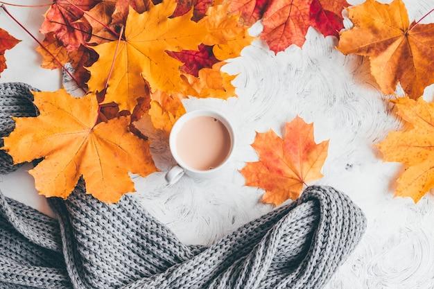 Composição aconchegante para casa de outono, uma xícara de café com folhas de plátano. vista superior