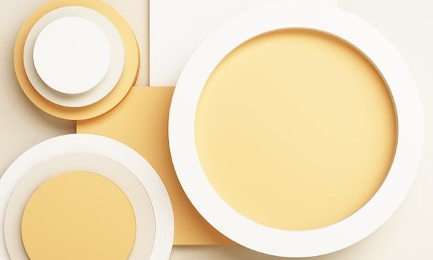 Composição amarela abstrata com pódio. estúdio mínimo com pedestal redondo e espaço de cópia, vitrine, apresentação do produto renderização em 3d