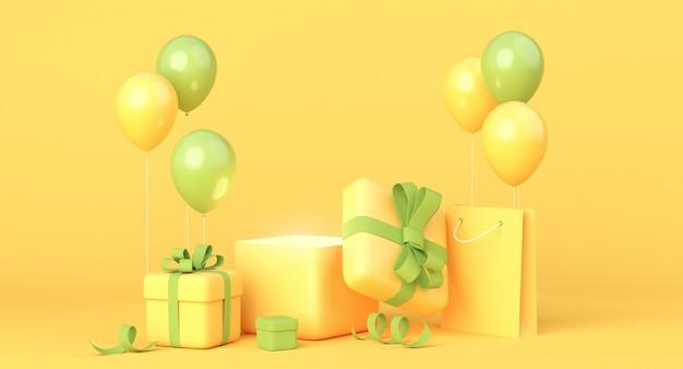 Composição amarela e verde com caixas de presente, balões e sacola de compras. renderização 3d, espaço de cópia