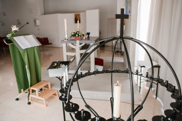 Composição católica dos símbolos em uma igreja.