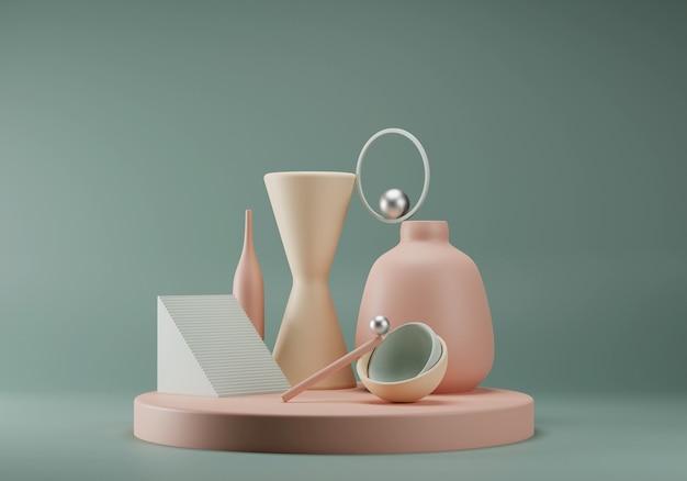Composição colorida pastel abstrata de formas geométricas primitivas. conceito de equilíbrio. palco para