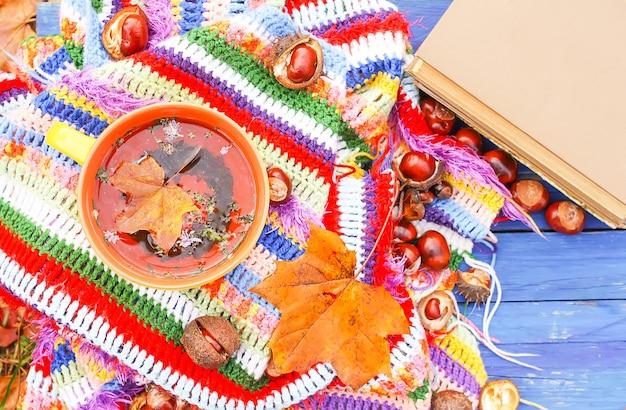 Composição com a xícara de cerâmica de chá de ervas e folhas de outono na manta listrada quente quadriculada brilhante no jardim de outono. livro antigo e castanhas-da-índia em placas de madeira azuis.