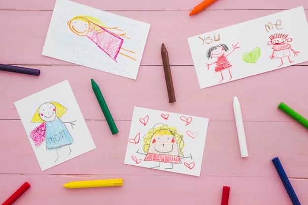 Composição, com, crianças, desenho, para, dia mães