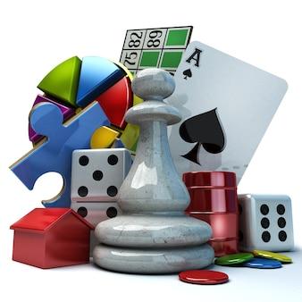 Composição com diferentes elementos de jogos