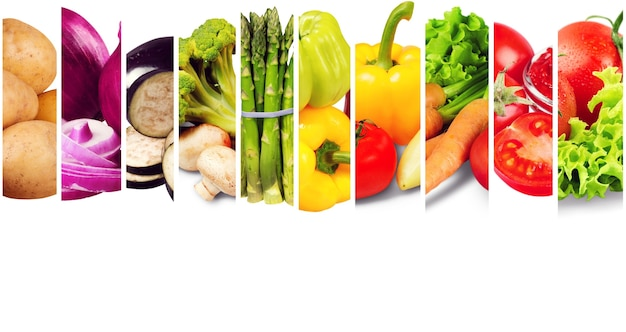 Composição com diversos vegetais crus orgânicos
