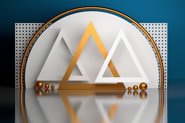 Composição com formas geométricas básicas nas cores brancas azuis douradas