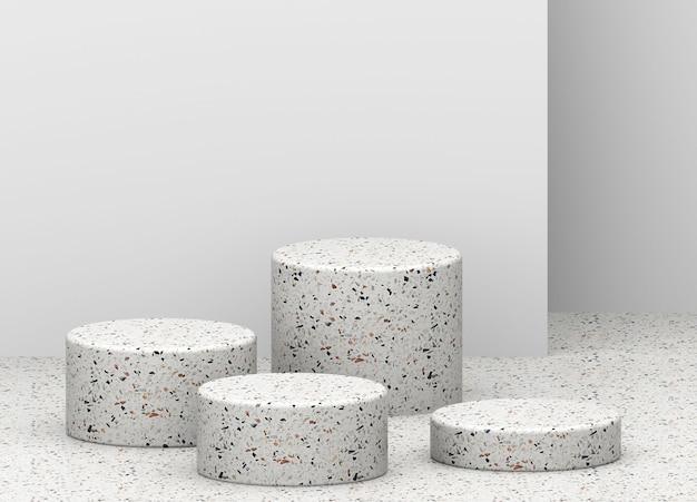 Composição com fundo renderização 3d de quatro pódios de terraço