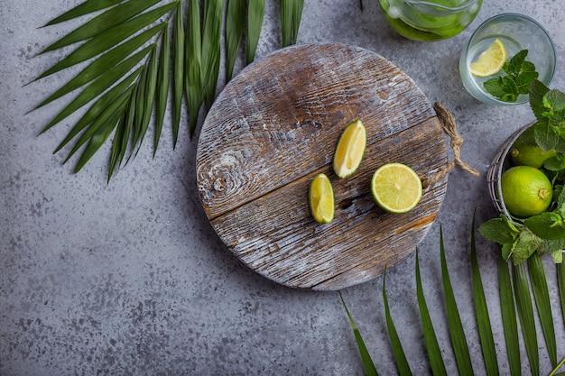 Composição, com, hortelã, e, limão