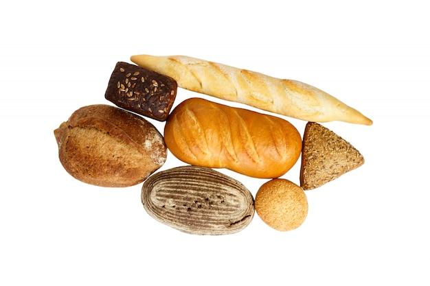 Composição com pão e pãezinhos, isolado