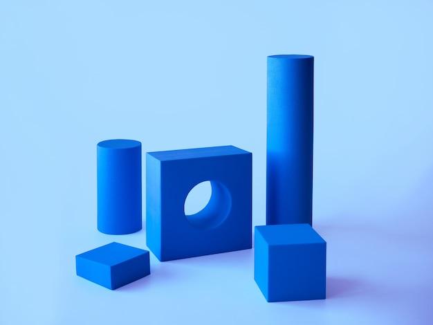 Composição com pódios para apresentação de produtos. layout da cena de formas geométricas