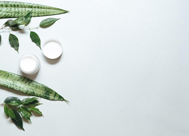 . composição com produtos de cuidados com o corpo, mecha e folha verde sobre fundo branco, vista superior, plana.