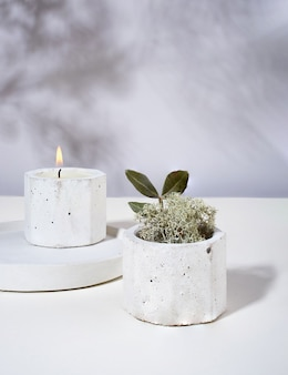 Composição com queima de velas perfumadas de cera de soja em um castiçal de concreto. flores secas, musgo. sombras na parede. minimalismo.