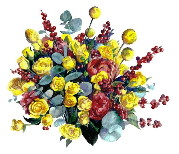 Composição com rosas amarelas e bagas em fundo branco. pintura aquarela