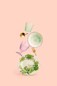 Composição contemporânea de natureza morta com pratos equilibrados que representam frescor e clima de primavera