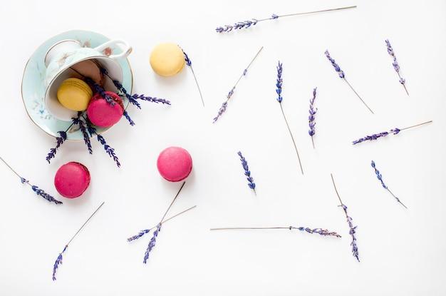 Composição criativa com xícara, biscoitos de macarons e flores de lavanda