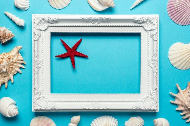 Composição criativa de conchas do mar com moldura branca sobre fundo azul.