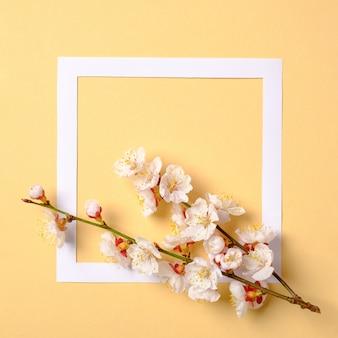 Composição criativa leiga plana: moldura de papel e ramo de sakura floresce