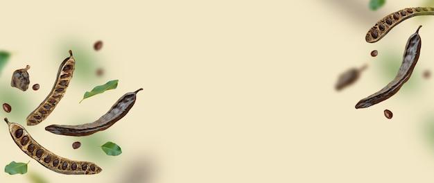 Composição criativa. vagens, sementes, folhas de alfarroba orgânica flutuante. fundo de alimentos. comer vegano natural. produto orgânico voador. conceito de levitação, caindo de doces saudáveis. banner horizontal. copiar espaço