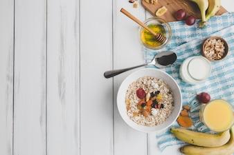 Composição da comida para café da manhã