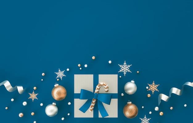 Composição da decoração do natal 3d com presentes, bola do natal, floco de neve no fundo azul. natal, inverno, ano novo. vista plana leiga, superior, copyspace.