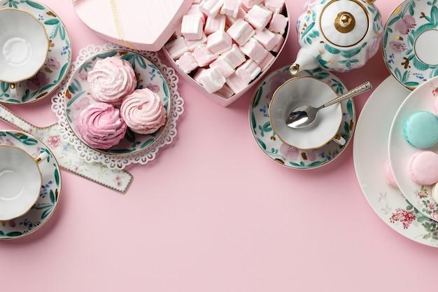Composição da festa do chá com espaço de cópia