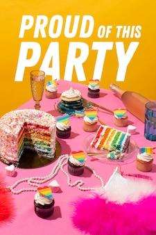 Composição da festa do dia do orgulho mundial com bolo arco-íris