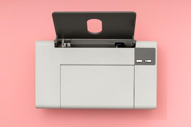 Composição da impressora de natureza morta de vista superior