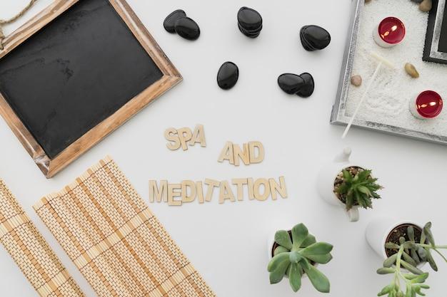 Composição da meditação com letras