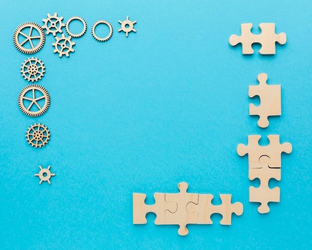 Composição da vista superior com elementos de inovação