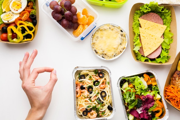 Composição da vista superior de diferentes alimentos