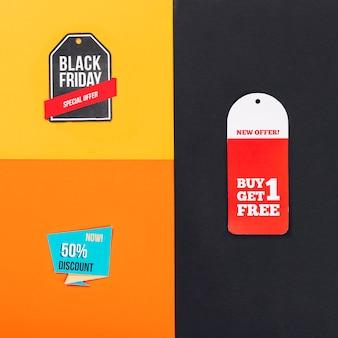 Composição das vendas de sexta feira preta com diferentes rótulos