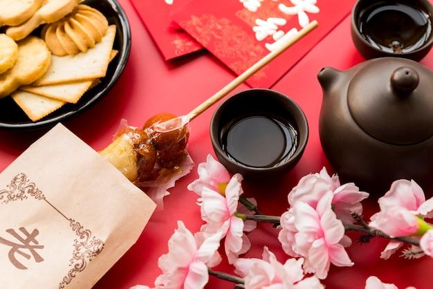 Composição de ano novo chinês de vista superior