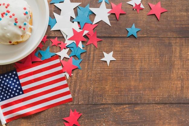 Composição, de, bandeira americana, estrelas, e, bolo