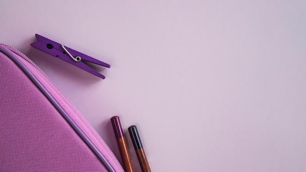 Composição, de, caneta, caso, lápis, e, alfinete