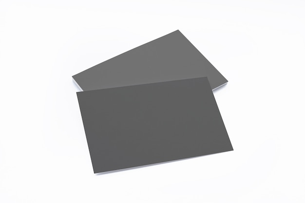 Composição de cartões de visita em branco preto isolada no branco