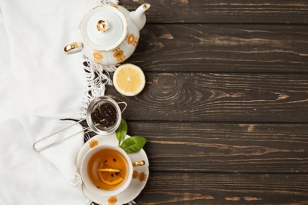 Composição de chá com copyspace