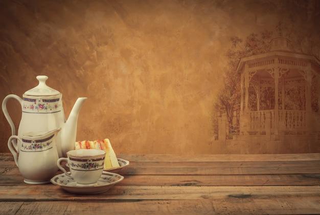 Composição de chá, jogo de chá, vintage de estilo de imagem