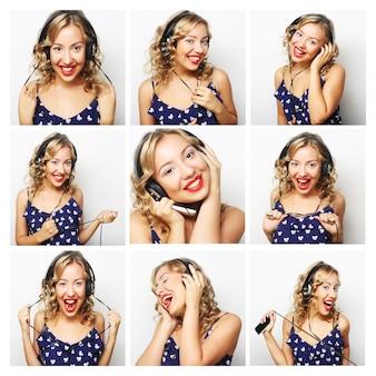 Composição de colagem de expressões de rosto de mulher jovem. mulher ouvindo música.