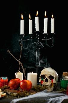 Composição de comida para festa de halloween