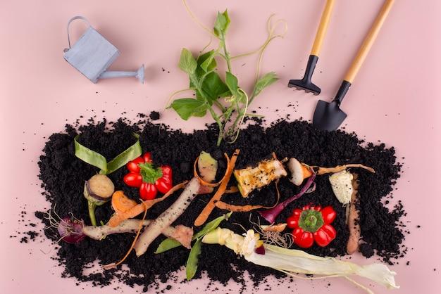Composição de composto feito de vegetais podres