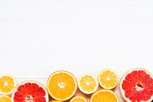 Composição, de, cortado, tropicais, citrinos
