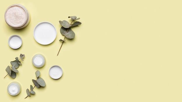 Composição de cosméticos plana leigos