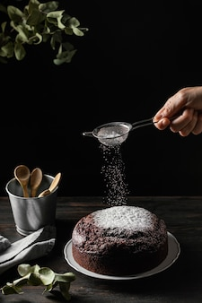 Composição de delicioso bolo de chocolate