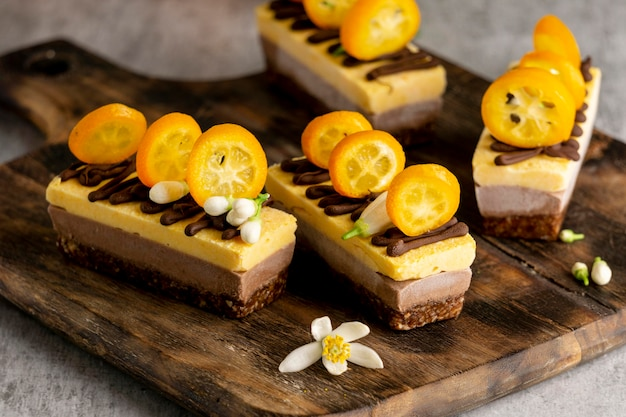 Composição de deliciosos bolos caseiros