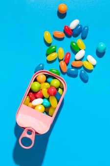 Composição de deliciosos doces doces coloridos