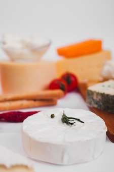Composição de diferentes tipos de queijo