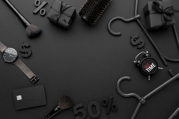 Composição de elementos de vendas de black friday com espaço de cópia